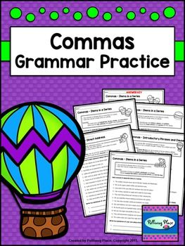 Commas - Set of Grammar Practice Pages for Using Commas ($)