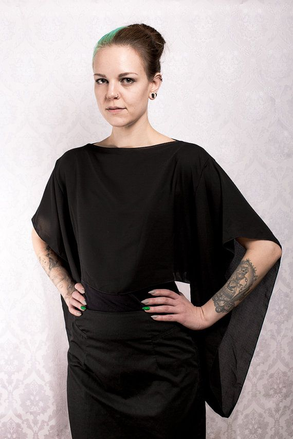 Black chiffon Kimono Sleeve Top by KitsuneCoutureFI on Etsy