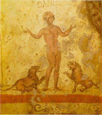 Daniel en el foso de los leones, Catacumba de San Calixto, S.II-III, Roma.