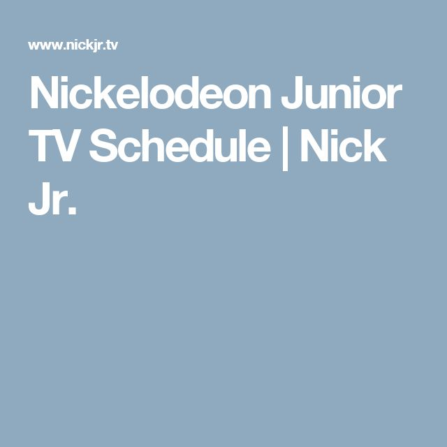 Nickelodeon Junior TV Schedule | Nick Jr.