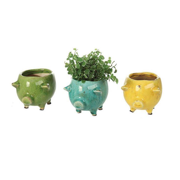 Three Little Pigs Planter - Set Of 3