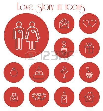 Conjunto de iconos vectoriales para la historia de amor photo