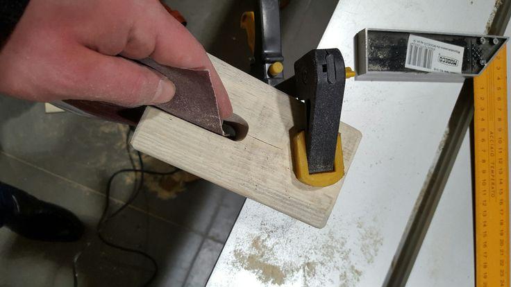 Making of wine holder step 5 - Grinding