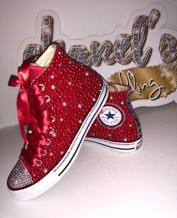 WOMEN's Red Bling Converse All Star Chuck Taylor Sneakers