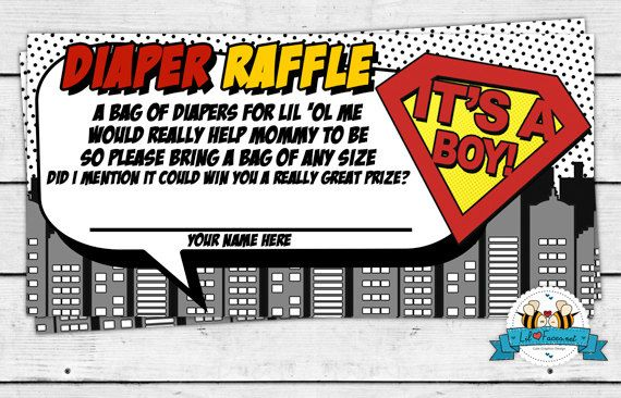 PRINTABLE Superhero Baby Shower Cute Diaper Raffle - Cute Poem Diaper Raffle on Etsy, $5.63 CAD
