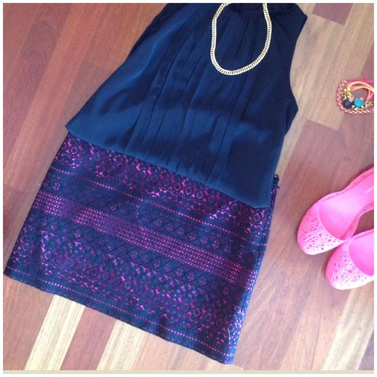 Mini falda cotton negra y fucsia! @ByNavdra!