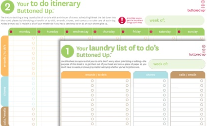 """nice printable """"to do"""" lists (one is a laundry list of everything you need to do; the other allows you to organize by day you want to do tasks)."""