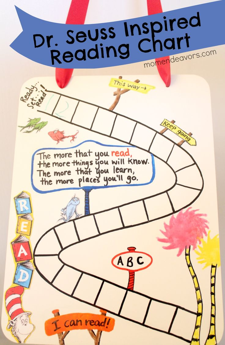 DIY Dr. Seuss inspired reading chart via momendeavors.com #seuss #drseuss