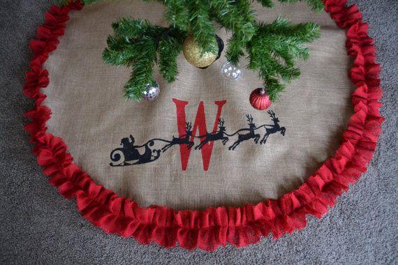 Santa Burlap Tree Skirt - Personalized Tree Skirt - Monogramed Custom Tree Skirt - Christmas Tree Skirt-