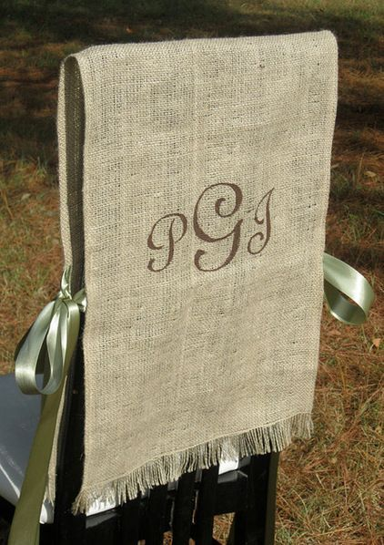 Monogrammed chair covers. Prefer narrower so part of chair shows. Use vintage linens?