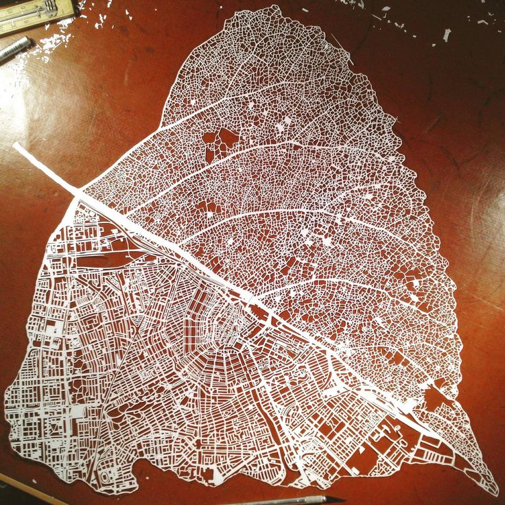 Paper cut leaf map of Amsterdam by