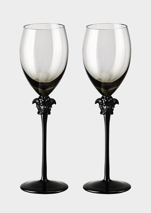 Versace Medusa Lumière Haze White Wine Set - Home Collection | US Online Store. Medusa Lumière Haze White Wine Set by Versace Home. The  head of Medusa and the long stem bestow elegance to the glasses