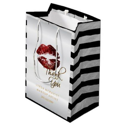Cinnamon Red Glitter Lips & White Stripes Medium Gift Bag - red gifts color style cyo diy personalize unique