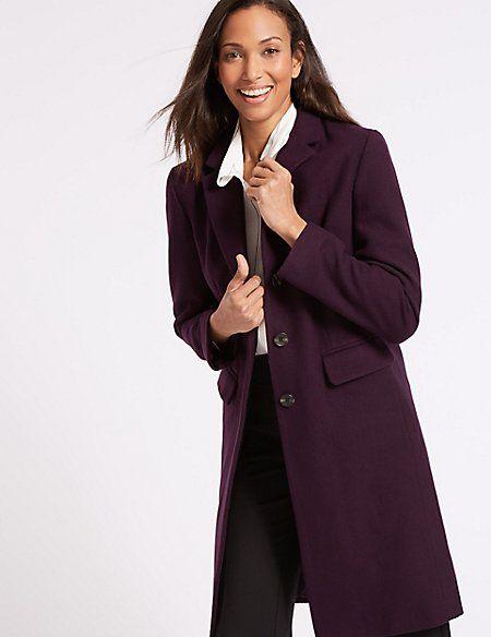 Wool Rich Single Breasted Coat in Dark Purple | M&S
