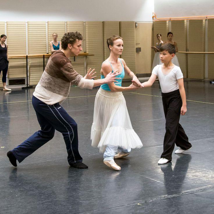 Kevin Jackson, Madeleine Eastoe and James (ITP student of The Australian Ballet School rehearsing with The Australian Ballet).