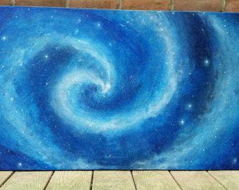 Ruimte Wave: spiraalvormig sterrenstelsel (origineel schilderij, blauw wit zwart acryl groot doek, grote originele kunst)