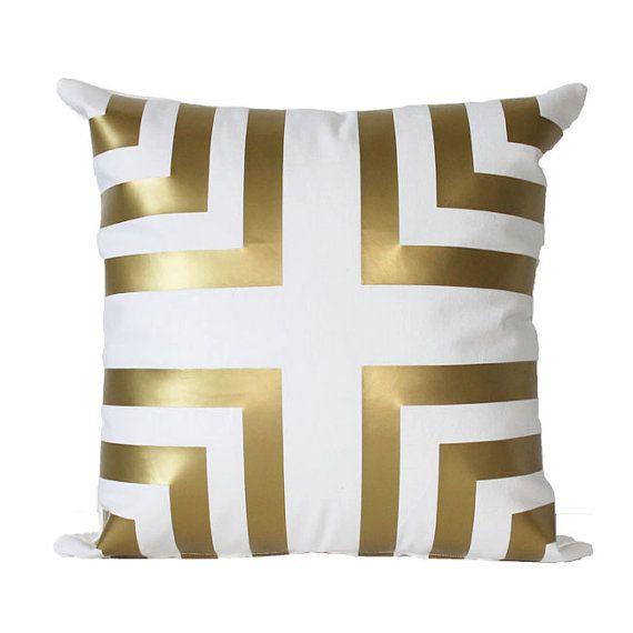Metallic Gold Chevron Corner Stripe Pillow by KyleWayneTaylorHome, $39.00