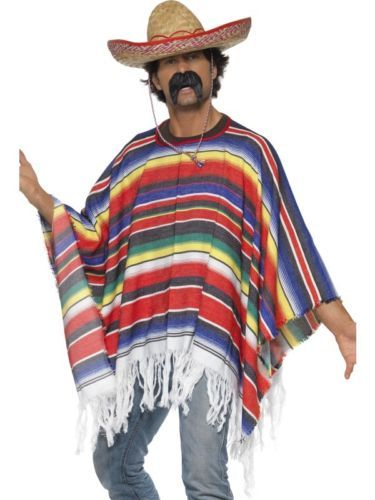 Mexican Fancy Dress Sombrero Poncho Gringo Bandit Stag Party DO Complete Outfit | eBay