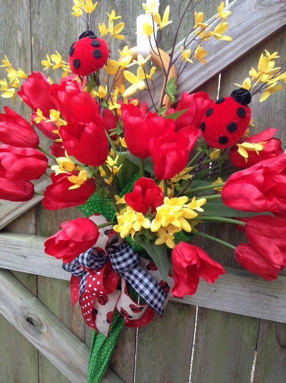 Spring Umbrella Wreath, Summer Umbrella  Wreath, Tulip Wreath, Everyday Wreath, Mother's Day