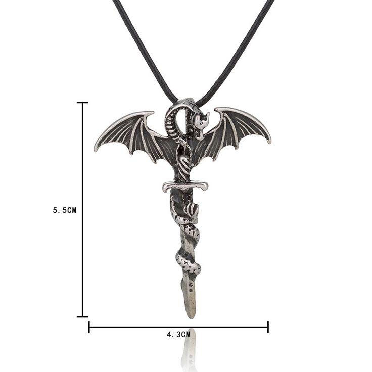 Halloween Vintage Luminous Pendant Necklace Sword Dragon Punk Men Jewelry