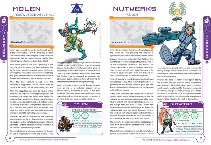 New spread from the core rule book in preparation for the kickstarter. Molen and Nutwerks!