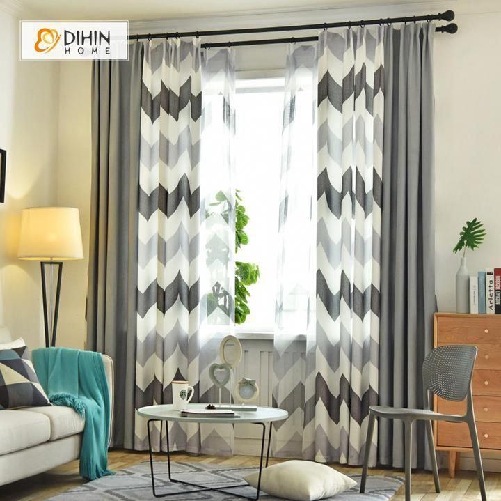 Dihin Home Black Bold Stripes Printed Blackout Grommet Window Curtain For Living Room 52x63 Inch Cortinas Para La Sala Decoracion Cortinas Decoracion De Salas