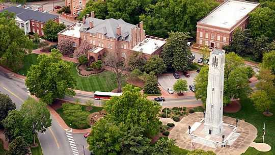 Sky view of the NC State (North Carolina State University) campus in Raleigh, North Carolina