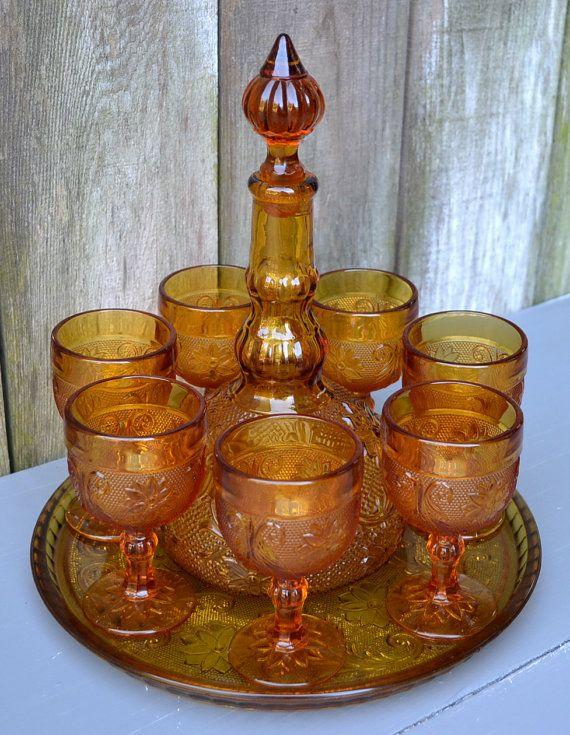 Decanter Set Vintage Amber Tiara Glass by CasanovasCabinet on Etsy, $54.00