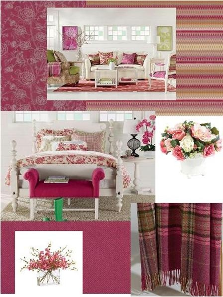 """I'm not really a """"pink girl"""" but I LOOOVE these Ethan Allen pieces styled in raspberry hues."""