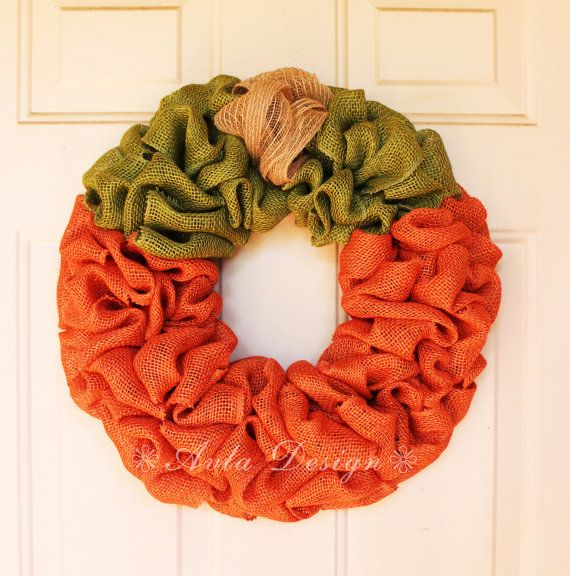 Pumpkin Wreath Pumpkin Burlap Fall Wreath Autumn Wreath