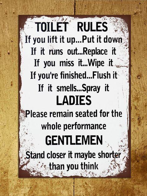 Vintage retro style Toilet Rules funny bathroom metal sign tin wall