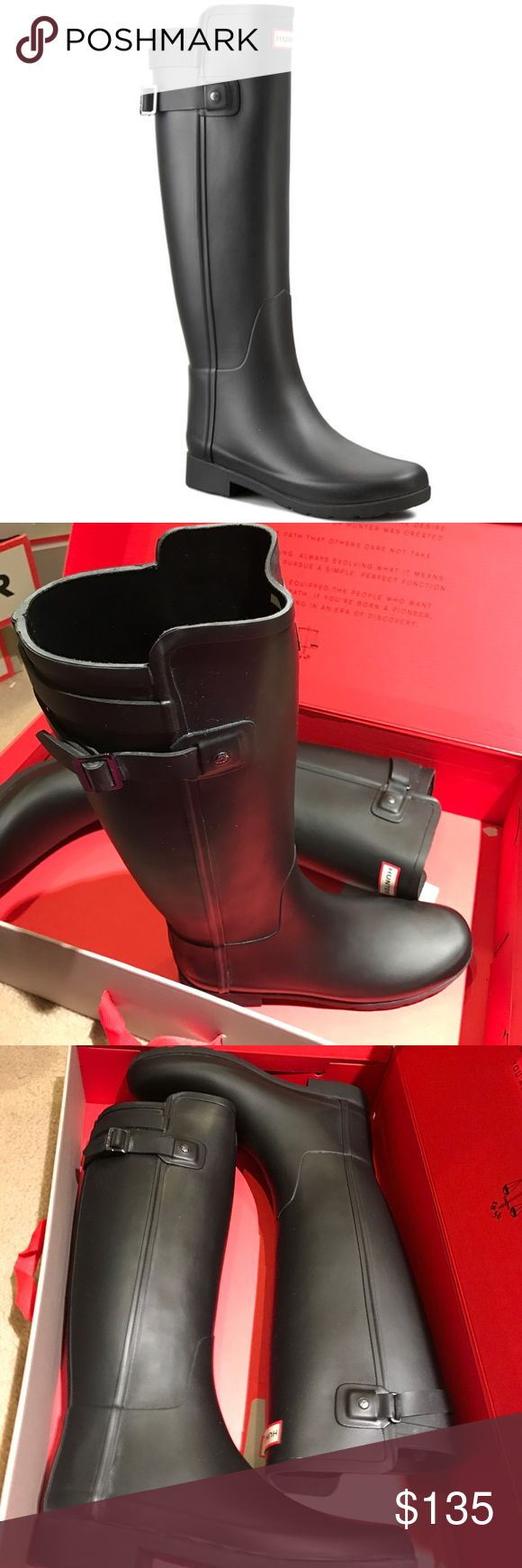 Brand new hunter original tall refined strap boots Brand new in box, hunter boots original tall refined strap black rain boots. Authentic. Hunter Boots Shoes Winter & Rain Boots