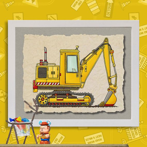 Kid Construction Art Digger Shovel Whimsical Yellow Vehicle Print Adds To Kids Room Zone As 8x10 Or 13x19 Wall Decor