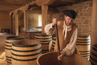 Colonial Era Cooper Making Whiskey Barrels Early