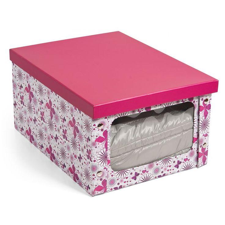 Ένα κουτί αποθήκευσης με παράθυρο για να φαίνεται εύκολα το περιεχόμενο του κουτιού. Είναι εύκολο στη συναρμολόγηση και έχει σχέδια λουλούδια και