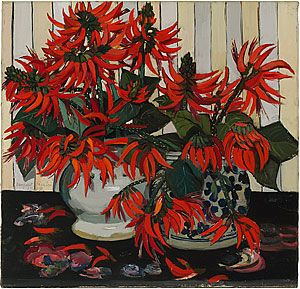 Margaret Preston is one of Australia's foremost modern women artists. She was a highly innovative artist who sought to create an authentic national art based on a combination of European, Australian Indigenous and Asian art. Australian coral flowers is one of her highly popular and decorative images of floral arrangements.