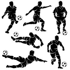 Silhouettes of soccer / football players vector art illustration