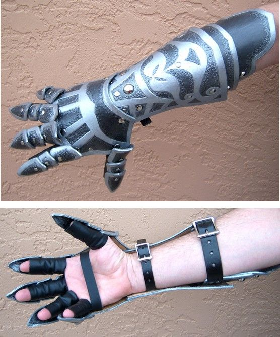 More metalic gauntlet, with the fingers being protected by plates, the end ones sharpened to be used as a weapon.