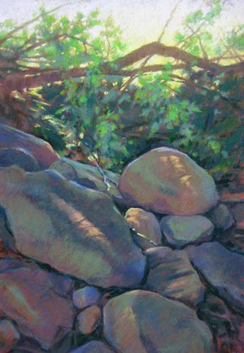 Rogers Farm 3-pastel painting of piled rocks on farmland by Jill Stefani Wagner. Www.jillwagner art.com
