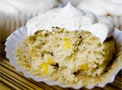 Corn cupcakes with brown butter frosting