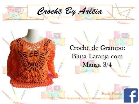 Blusa laranja de crochê de grampo By Arléia - YouTube