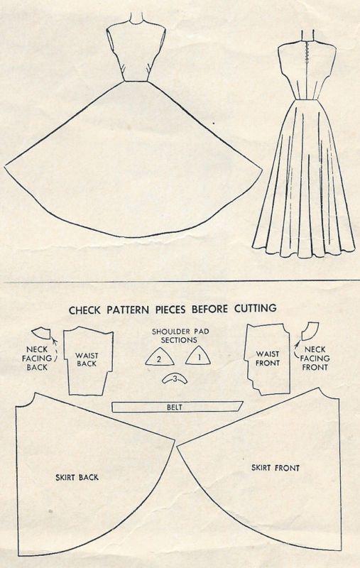 "1948 Vintage Sewing Pattern B32"" EVENING DRESS (R149)"