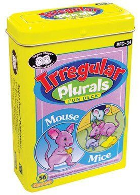 "Irregular Plurals Fun Deck Cards - Super Duper Educational Learning Toy for Kids by Super Duper Publications. $11.95. You can make a ""regular"" noun plural by adding ""s"" to the end of it (dog/dogs, cat/cats, etc.). Many nouns, however, are ""irregular"" in their plural form: words like ""tooth/teeth,"" ""calf/calves,"" ""man/men,"" ""mouse/mice"", ""moose/moose"" etc. Irregular Plurals Fun Deck offers a great way for children to learn these more difficult plurals. It has 26 illustrated s..."