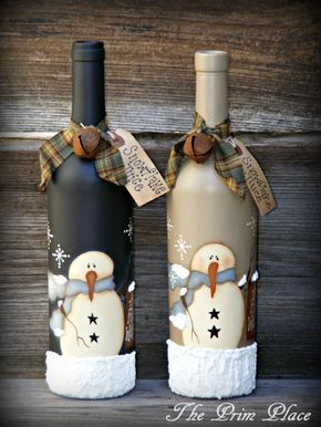 Muñeco de nieve pintado a mano primitivo vino por theprimplace