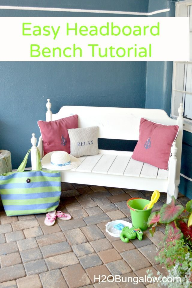 Make an easy headboard bench. DIY tutorial and tips are easy to follow. I only had to cut 4 boards myself and made this sturdy front porch bench