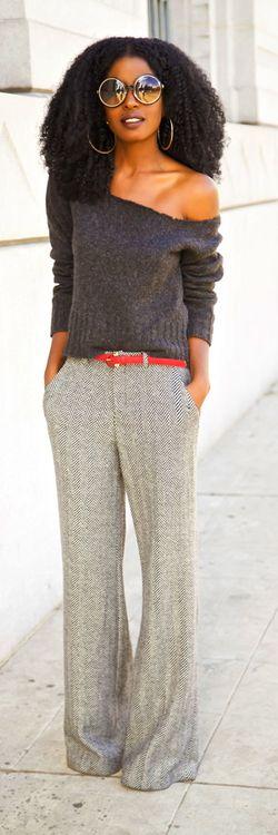 DIY Off Shoulder Sweater + Herringbone Wide Leg Trousers Style Pantry