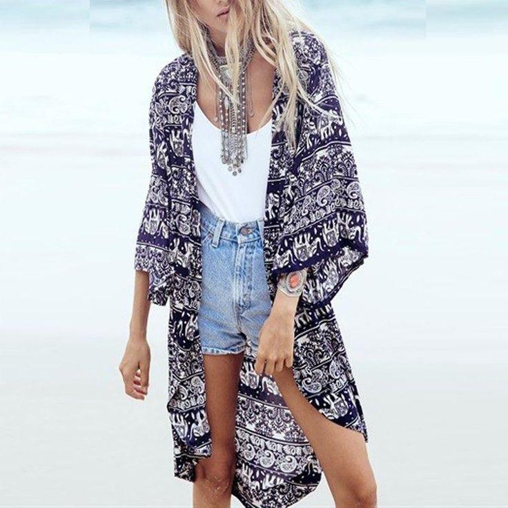 Boho Kimono Cardigan Floral Printed 3/4 Sleeve – Hippie Bliss