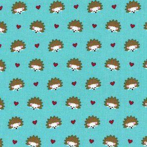 Michael Miller House Designer - Fox Woods - Hedgehog Heaven in Turquoise