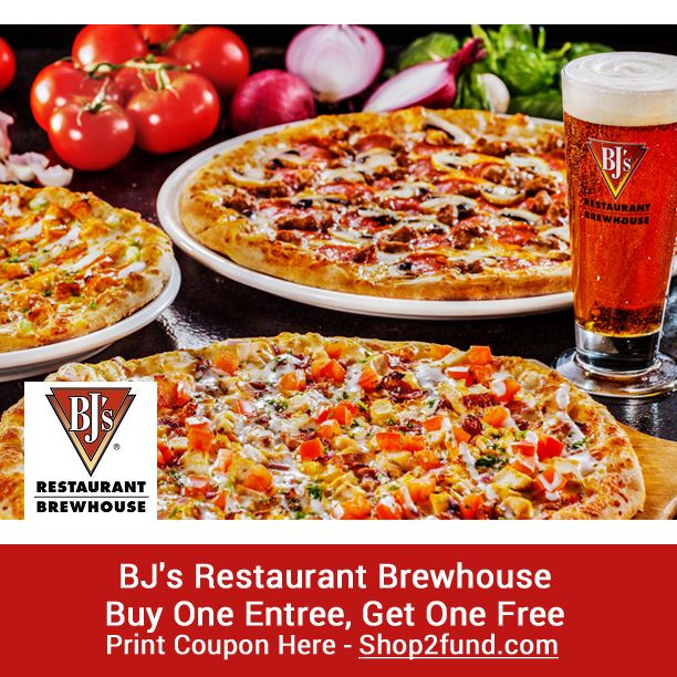 BJ's #Restaurant #Brewhouse is offering Buy 1, Get 1 Free Entree until 4/02 at participating locations! Print Coupon Here: www.shop2fund.com