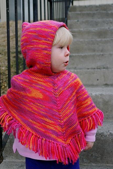 From Knitting Pure & Simple website: A fast to knit poncho written for worsted weight yarn at 4 1/2 to the inch. Knitted from the top down, it can be made with or without a cozy hood and fringe. Sizes 2-4, 6-8, 10-12.